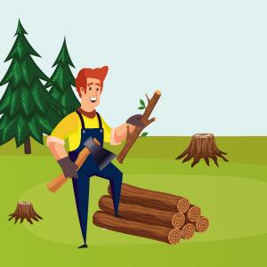 Henry bei der Baumfällung